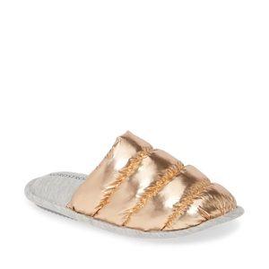 Nordstrom Metallic Rose Gold Puffer Slippers